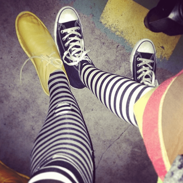 Stripes kept these costumes coordinated and totally on-trend. Source: Instagram user bevansburg