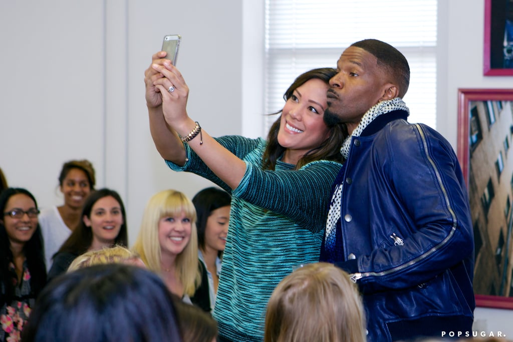 Jamie Foxx got into a photo during a stop by the POPSUGAR offices in San Francisco, CA in April 2014.  Photo: Jason Rhee