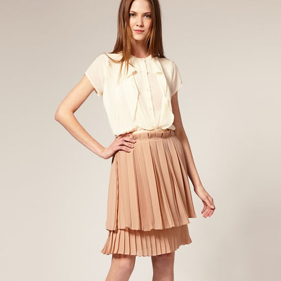 Layers of pleated crepe and a cute paperbag waist.  See by Chloé Pleated Three Quarter Length Tier Skirt, $518