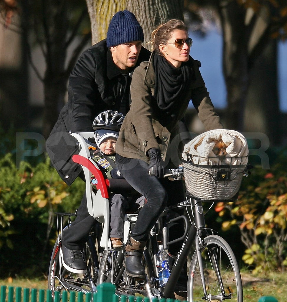 Tom and Gisele took their son Ben and dog Vida for a bike ride in Boston.