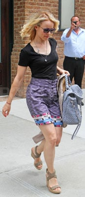 Rachel McAdams Wears Printed Purple Skirt in NYC