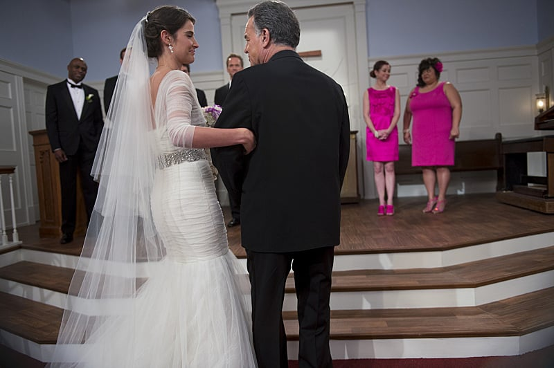 Robin and her dad make it down the aisle.