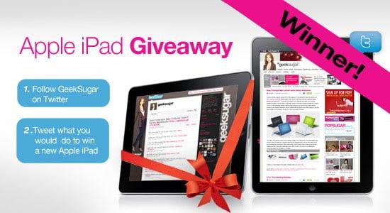 GeekSugar Twitter iPad Giveaway Results
