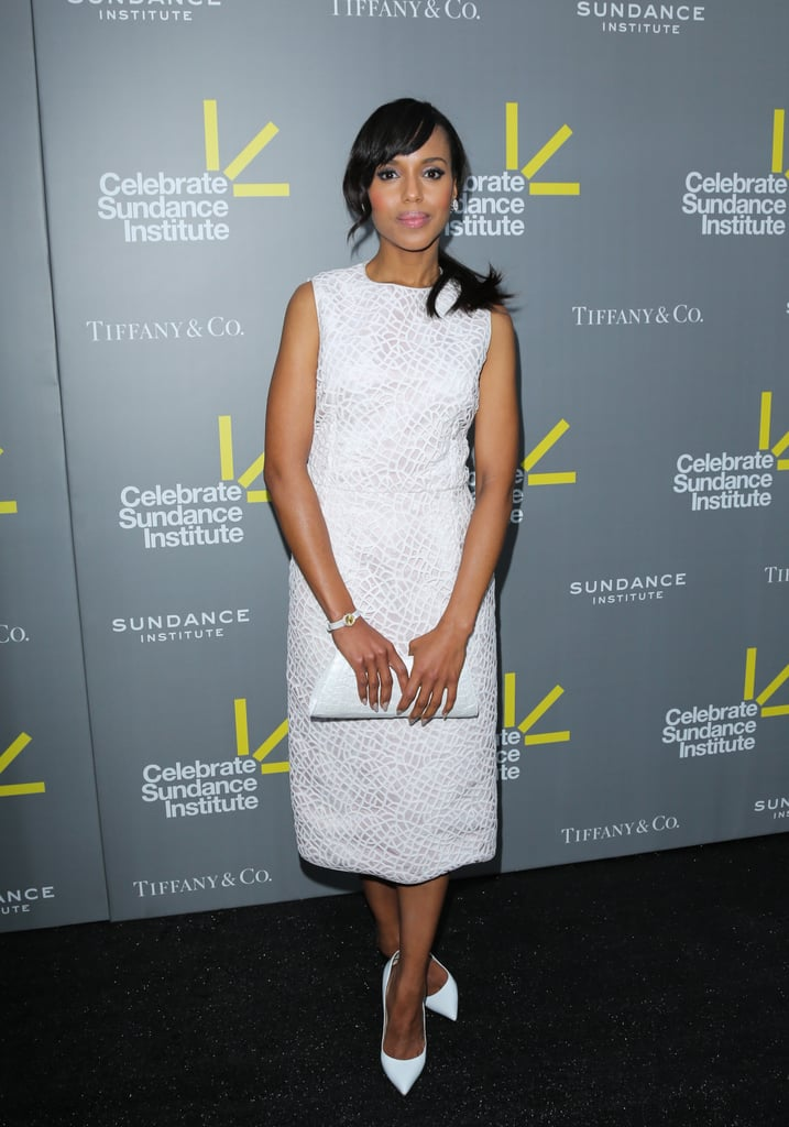 Kerry Washington wore head-to-toe white, including Giambattista Valli sheath dress, a Nancy Gonzalez clutch, and Christian Louboutin pumps at an event in NYC.