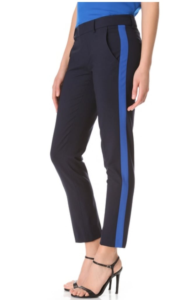 Who said tuxedo pants are only for the male population? I'm totally borrowing the trend in these Vince tuxedo pants ($275). They'll add a jolt of color to my nighttime wardrobe. I like how they look like regular pants from the front, but when you turn to the side, you get a fun surprise with the cobalt stripes.  — Melody Nazarian, Style & Trends editor