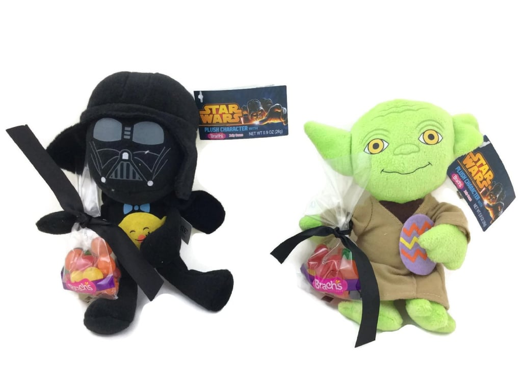 How cute — yes, cute — are these Darth Vader and Yoda stuffed toys ($14) that come with jelly beans?