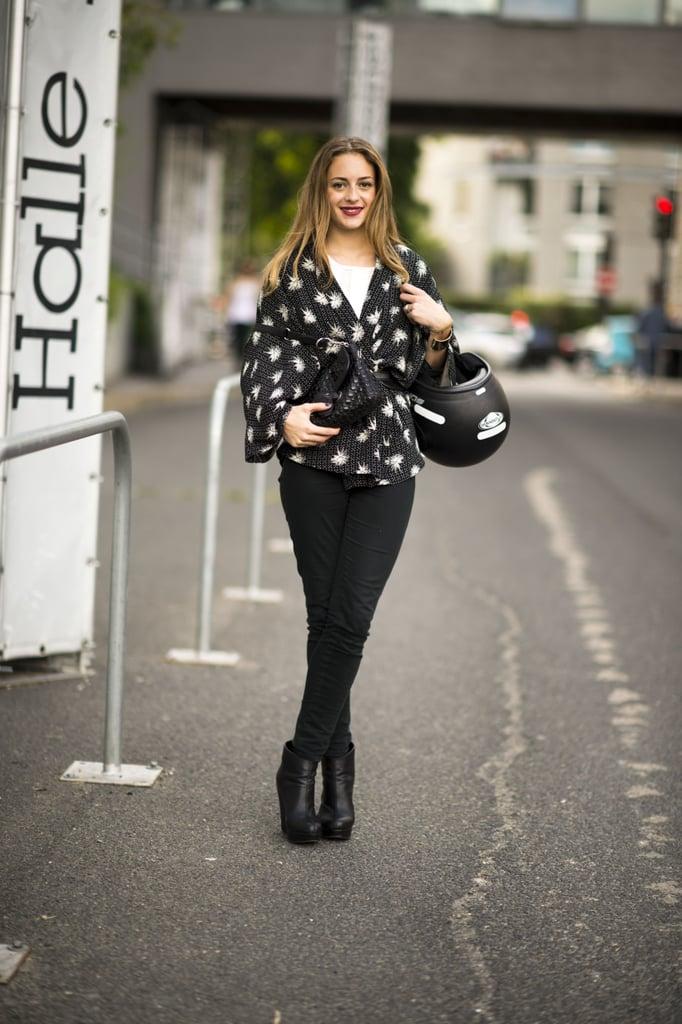 A kimono-style jacket transforms basic black pants.