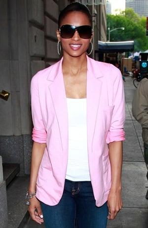Photo of Singer Ciara in NYC Wearing Pink Blazer