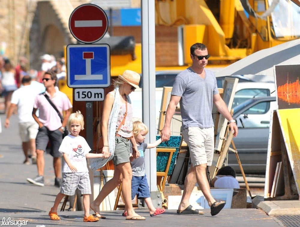 Liev Schreiber and Naomi Watts took a family vacation in the South of France with their sons, Sasha and Kai, on Sunday.