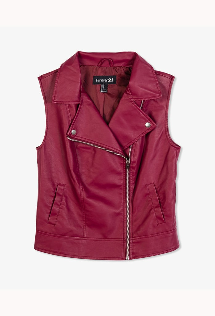 Throw a dash of cranberry into your Autumn wardrobe with Forever 21's chic zip-up vest ($18).