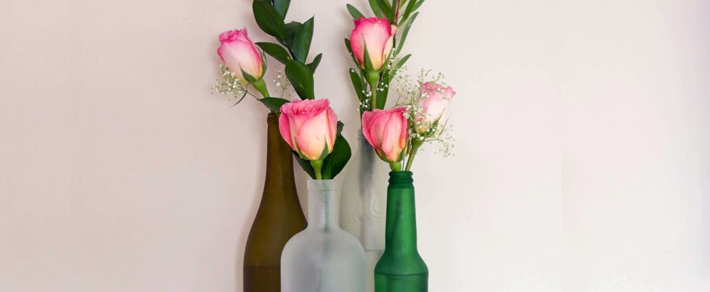 Turn Boring Bottles Into Cool Frosted Vases