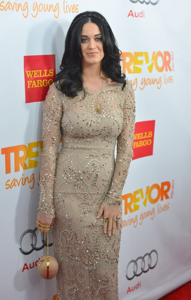 Katy Perry wore a gold dres in LA.