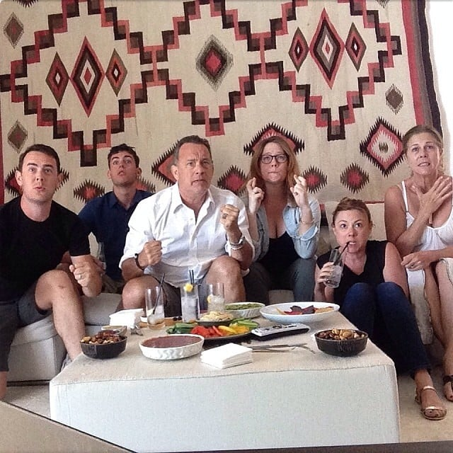 Tom Hanks, Rita Wilson, and their family were seriously stressed during the nail-biting match between USA and Belgium. Source: Instagram user theacademy