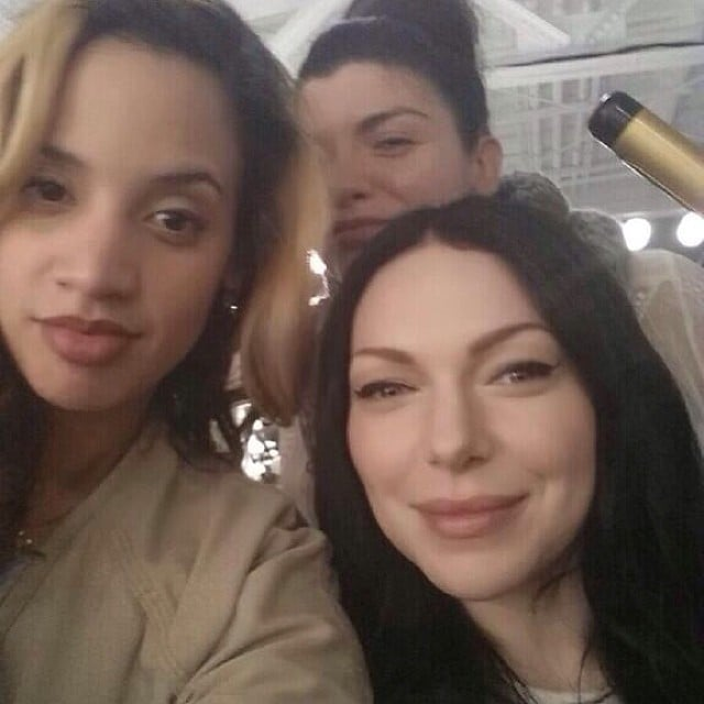 The girls play around on set. Source: Instagram user oitnb