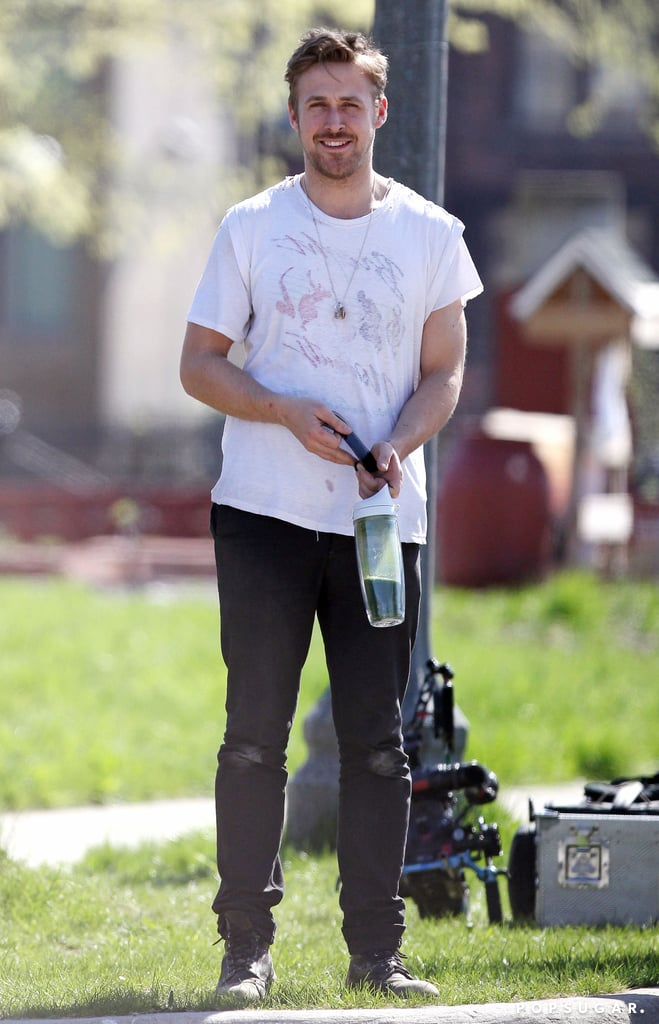 Ryan Gosling smiled on the set of How to Catch a Monster.