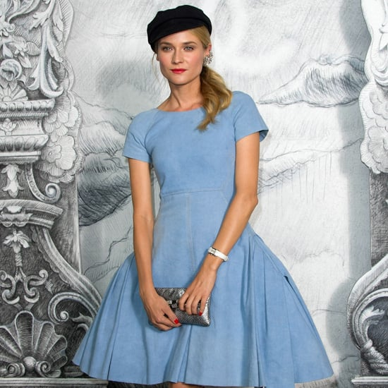 Diane Kruger Wearing a Denim Dress at Chanel Couture Show 2012