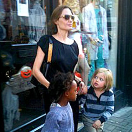 Angelina Jolie Pictures at Costume Store Wire Brad Pitt and Kids