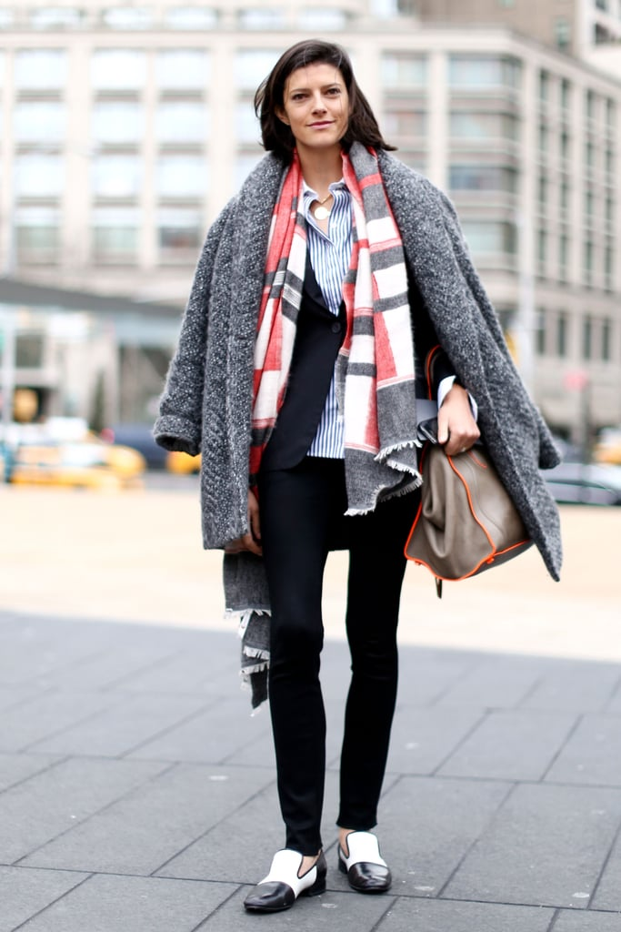Vogue's Lawren Howell layered up in a smart borrowed-from-the-boys mix.