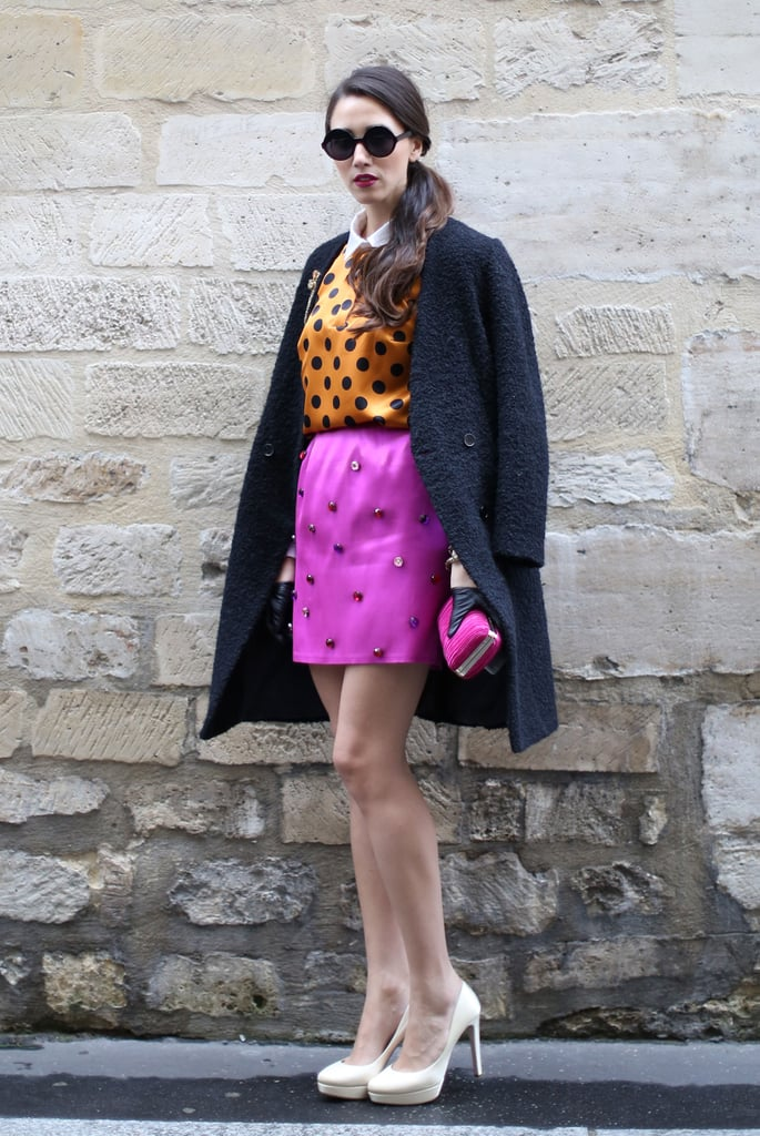 A bejeweled miniskirt upped the ante on a playful polka-dot blouse.