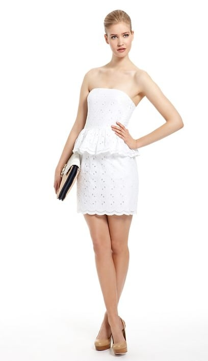 Strapless Eyelet Dress With Peplum ($375)