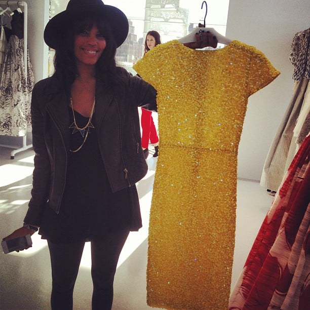 Assistant Editor Britt showed off a canary-yellow cocktail dress during a visit to the Alice + Olivia showroom.