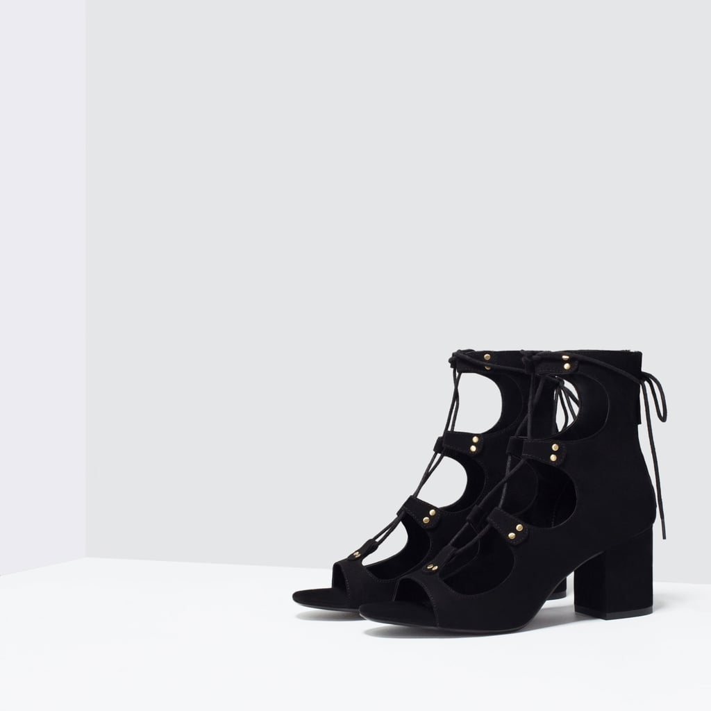 Zara Lace Up Heels Black