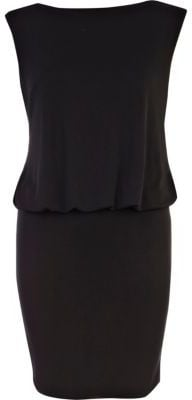 Black diamante open back mini dress