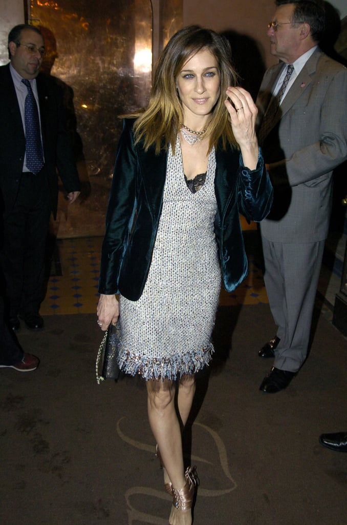 In March 2004, SJP fused texture with texture — a tweed Monique Lhuillier dress and plush velvet blazer — with satin corset Gucci sandals and a sparkling clutch.  7093663