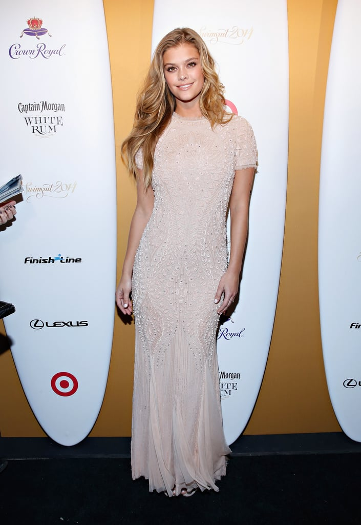 Nina Agdal looked pretty in pink.