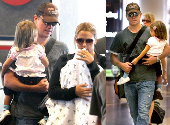 Matt Damon Lands in LA With His Ladies
