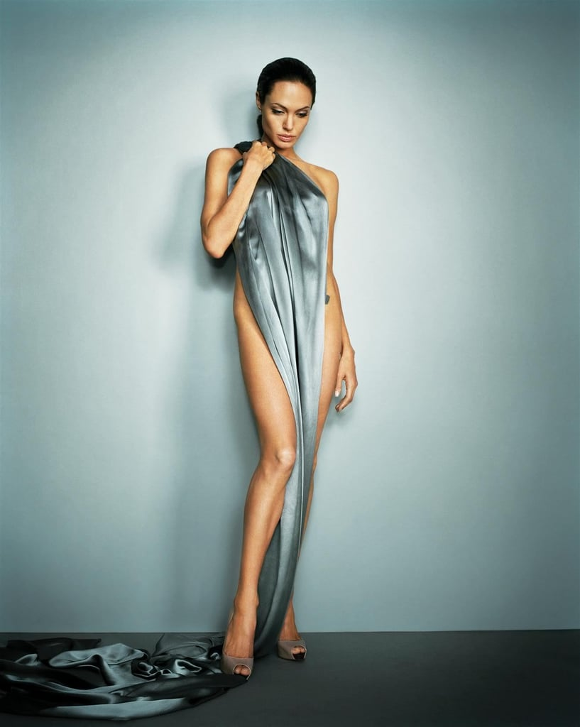 Angelina Jolie posed in a silk sheet for her July 2007 Esquire shoot.