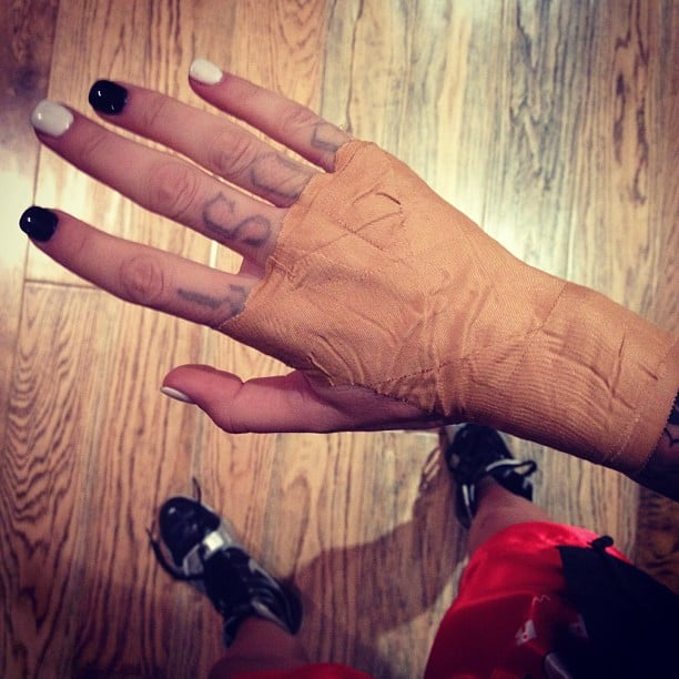 Ruby Rose took nail art into the boxing ring with her monochromatic hands. Source: Instagram user rubyrose86