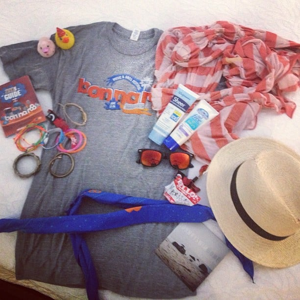 The end of the road! We decided to snap a final photo of our Bonnaroo essentials — sunscreen, bandanas, our trusty scarf-turned-blanket, and other items that kept us cool and collected during our adventure. Source: Instagram user popsugarfashion