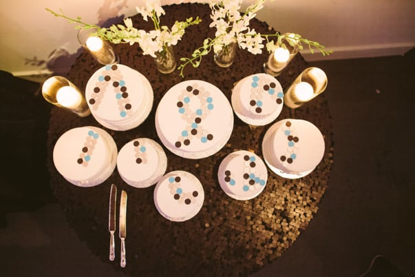 This industrial chic wedding used sugar buttons to create a bold design for a fun overhead effect.