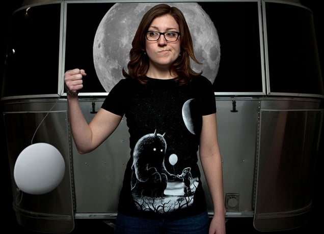 The Guest tee ($20) is quirky and irreverent. The print shows an astronaut humorously offering a white balloon to an alien beast.