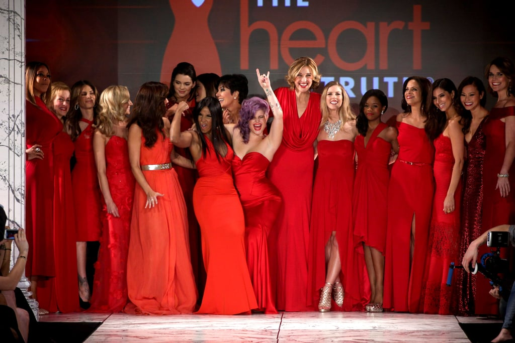 Kelly Osbourne led her fellow celebrities in a celebration after walking the runway at The Heart Truth's Red Dress fashion presentation in NYC in February.