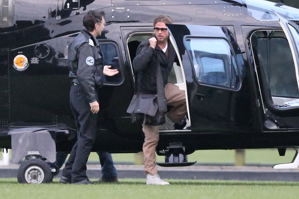 Brad Pitt Makes His Hot Helicopter Commute in Glasses
