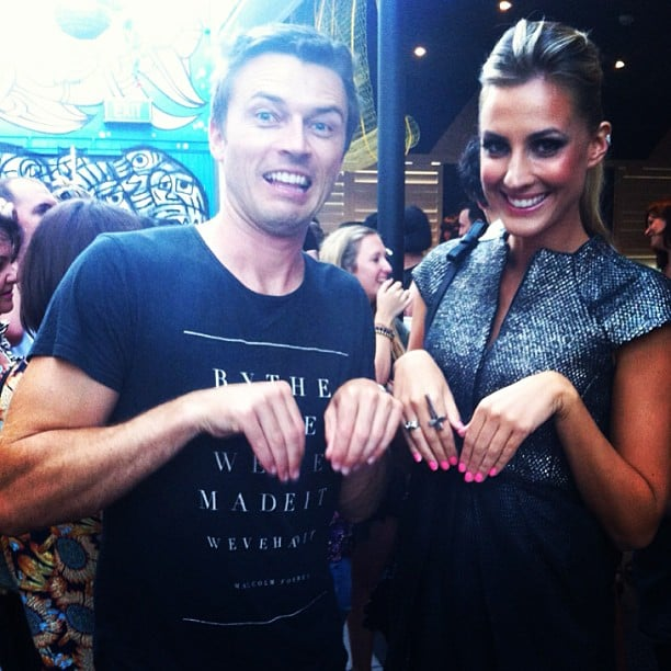 Cute couple James Kerley and Laura Dundovic made like kangaroos. Source: Instagram user lauradundovic