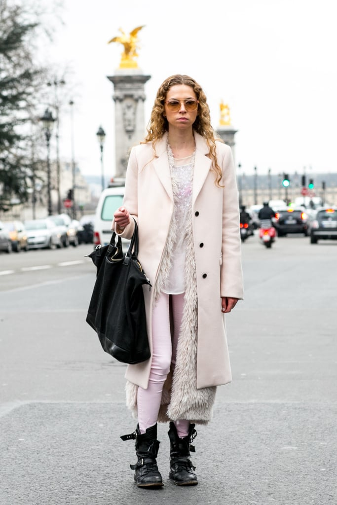 A textural vest added interest to monochromatic layers.