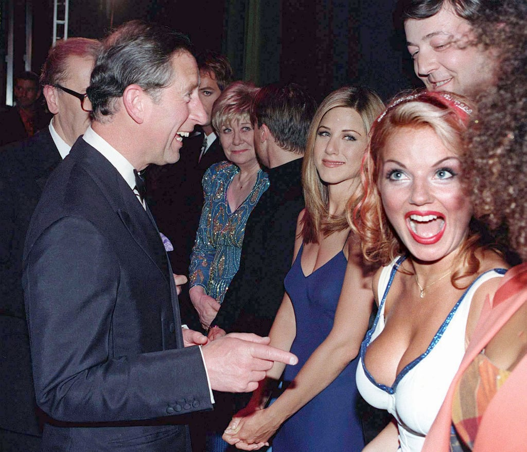 Prince Charles greeted Jennifer Aniston, Stephen Fry, and the Spice Girls after the Royal Gala show celebrating 21 years of the Prince's Trust in November 1997.