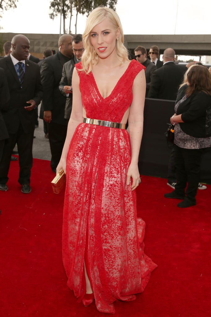 Natasha Bedingfield chose a red floor-length gown for the Grammys.