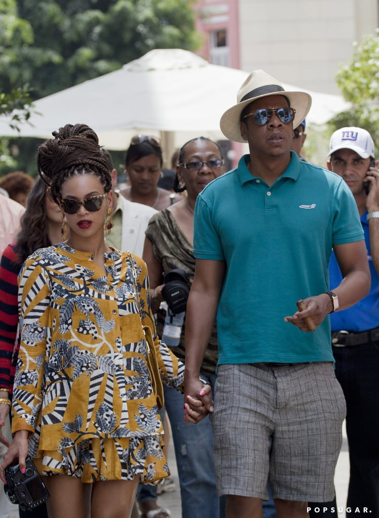 Beyoncé wore a printed outfit and braids in Cuba.