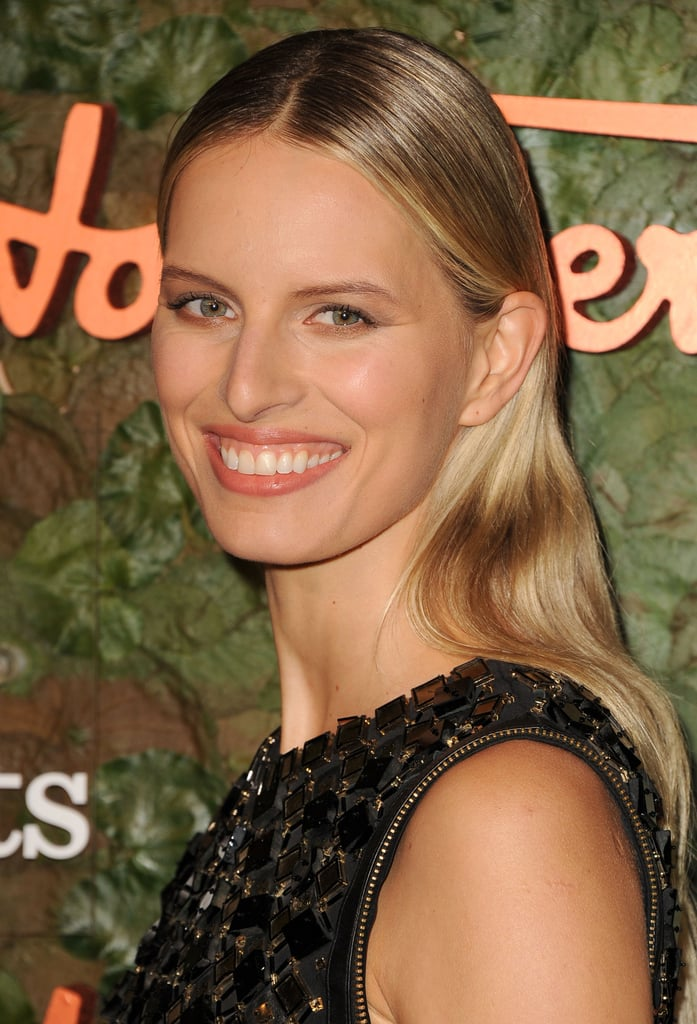 Karolina Kurkova flashed a smile for the cameras.