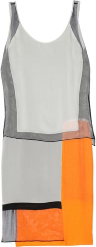 Helmut Lang Textured-crepe, chiffon and satin paneled dress