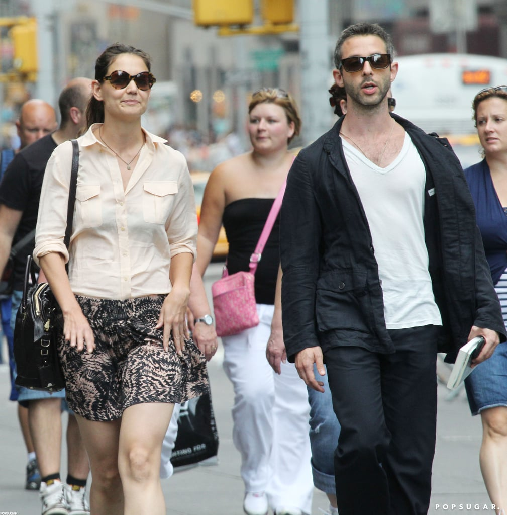 Katie Holmes was spotted in NYC with Jeremy Strong.