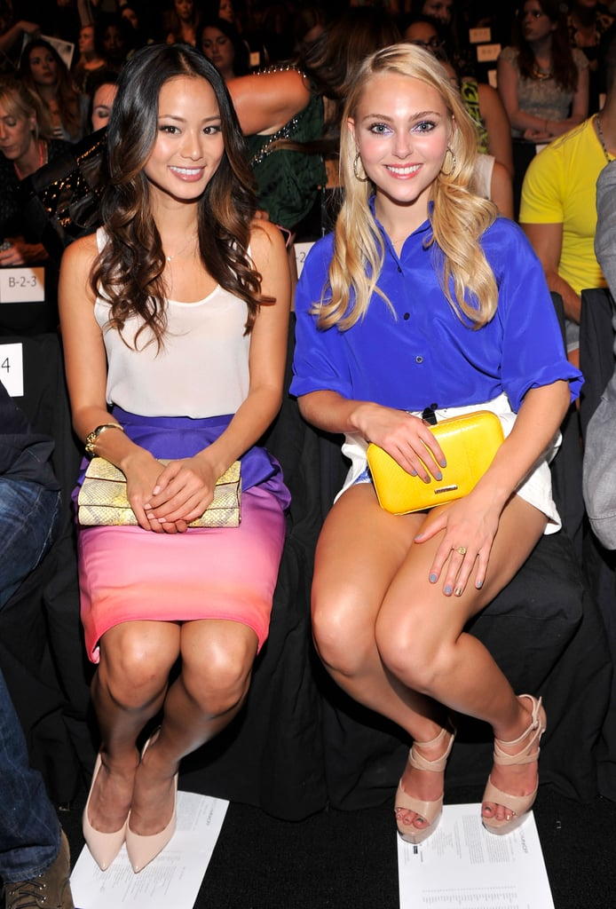 Jamie Chung and AnnaSophia Robb were color-coordinated at Rebecca Minkoff in NYC.