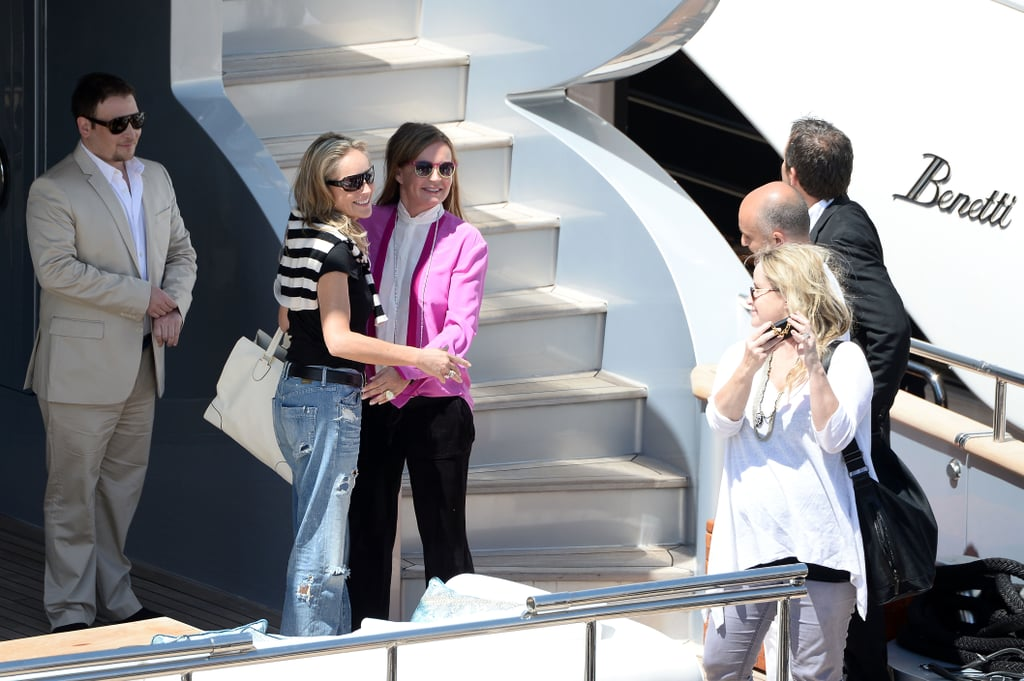 Sharon Stone posed with Eva Cavalli while yachting in Cannes on Tuesday.