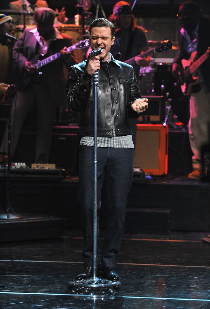 "Justin Timberlake performed his song ""Pusher Love Girl"" from his album The 20/20 Experience on Late Night With Jimmy Fallon."