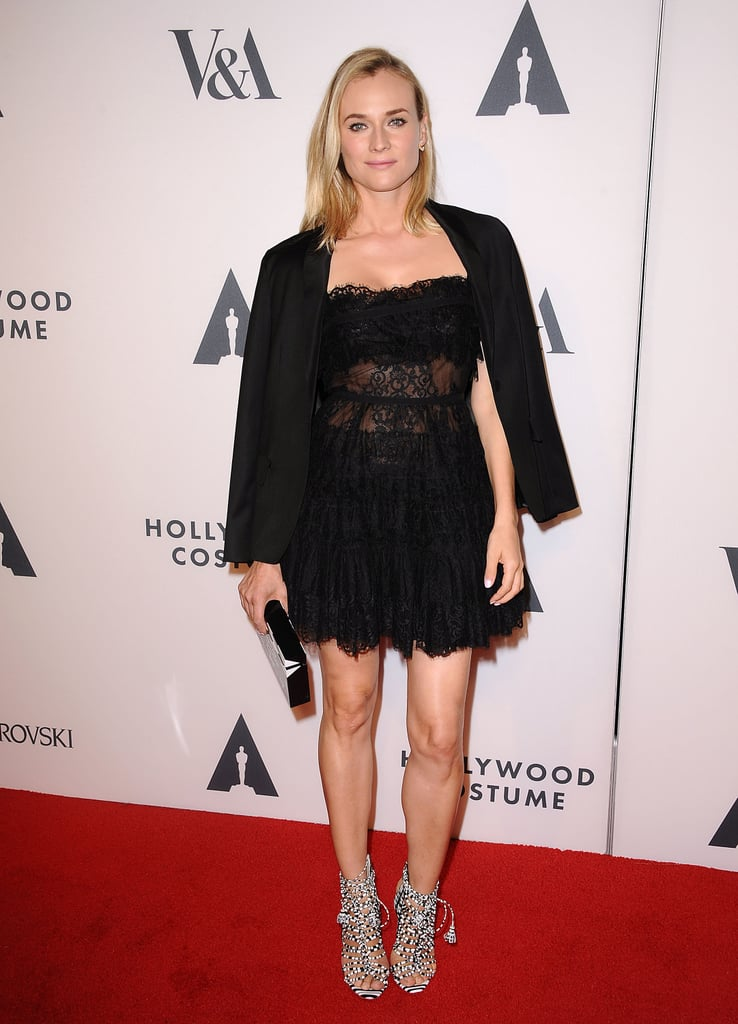 The star looked supersexy in this black lace Elie Saab dress at The Academy of Motion Picture Arts and Sciences' Hollywood costume opening party.