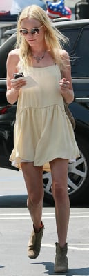 Kate Bosworth Wearing Yellow Dress and Isabel Marant Boots In LA